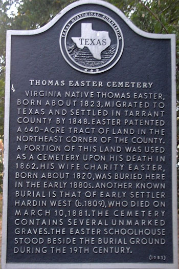 Thomas Easter Cemetery Historical Marker