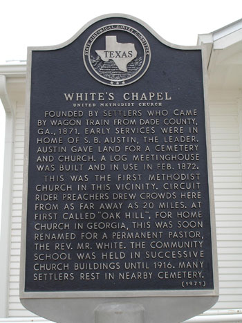 Whites Chapel Church Historical Marker