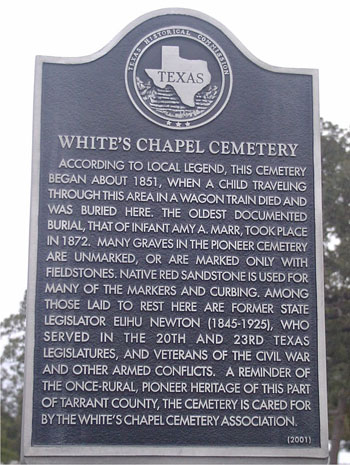 Whites Chapel Cemetery Historical Marker